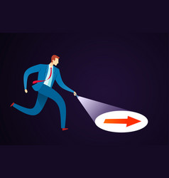 Businessman searching a guidance vector
