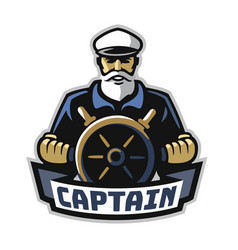 captain emblem with steering wheel on white vector image