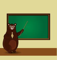 cartoon bear teacher holding pointer standing vector image