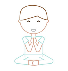 cartoon man doing yoga vector image