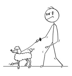 Cartoon of tough man walking with poodle dog on a vector