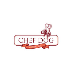 chef-dog-restaurant-logo vector image
