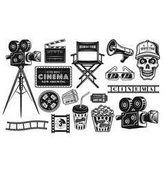 Cinema and cinematography set objects vector