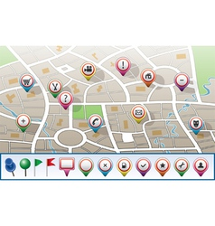 city map with gps icons vector image