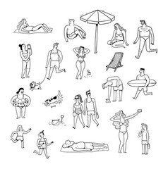 collection of hand drawn people vector image