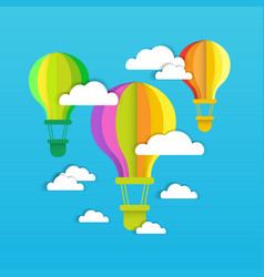 colofrul air balloons fly over blue sky with white vector image