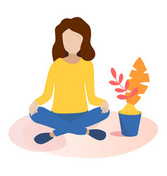 Concept of meditation in flat vector