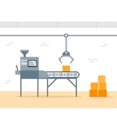 Conveyor Machine in Factory - flat vector image