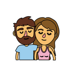 Couple lover together with hairstyle design vector
