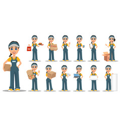 Courier woman set professional fast delivery vector