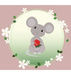 Cute Mouse eating strawberry vector