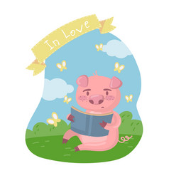 cute smart pig character reading a book while vector image