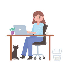 daily routine scene woman with laptop in desk vector image