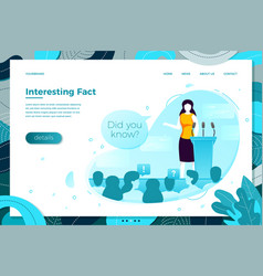 Debating girl saying interesting facts vector