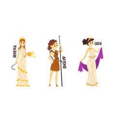 Demetra artemis gera olympian greek gods set vector