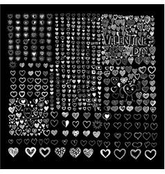 doodle hearts icon set hand drawn design vector image