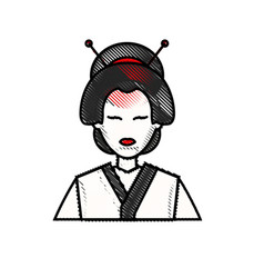 Drawing character japanese girl geisha traditional vector