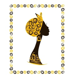 Female head silhouette for your design ethnic vector