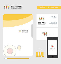 food business logo file cover visiting card and vector image
