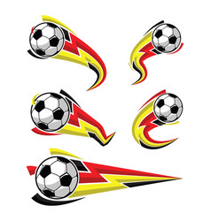 football black yellow red and soccer symbols set vector image