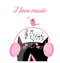 Funny cat in headphones vector