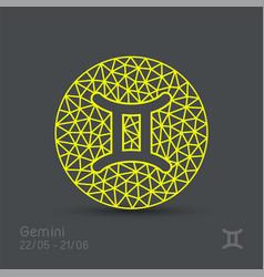 Gemini zodiac sign in circular frame vector