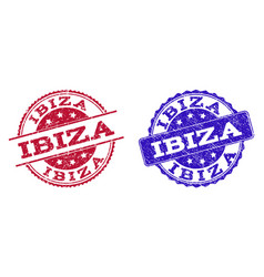 Grunge scratched ibiza seal stamps vector