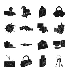 Hackers and hacking set icons in black style big vector