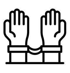 Hands with handcuffs icon outline style vector