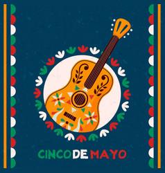 happy cinco de mayo mexican mariachi guitar card vector image