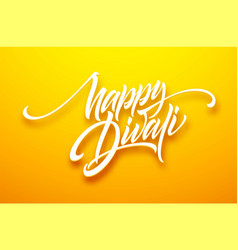 happy divali festival lights black calligraphy vector image