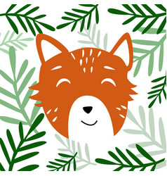 Head of cute animal with plants vector