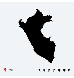 High detailed map peru with navigation pins vector