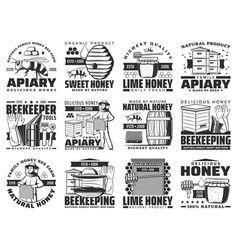 Honey and beekeeping apiary farm icons set vector