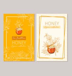honey vintage banners design engraved sea vector image