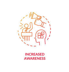 Increased awareness red gradient concept icon vector
