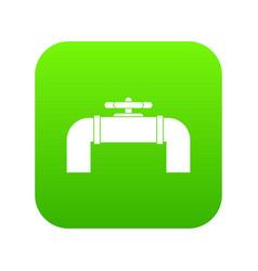 industrial pipe valve icon digital green vector image