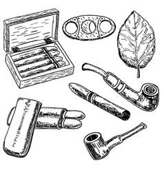Ink hand drawn style tobacco set vector