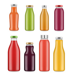 juice bottles transparent jar and packages for vector image