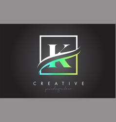 K letter logo design with square swoosh border vector