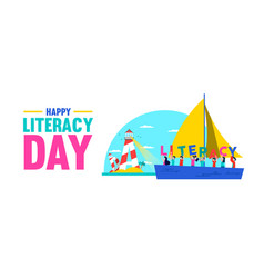 Literacy day web banner concept for kid education vector