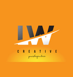 Lw l w letter modern logo design with yellow vector