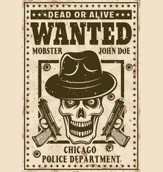 Mafia poster in vintage style with mobster skull vector