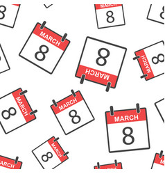 march 8 calendar page seamless pattern background vector image