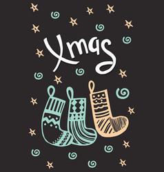 merry christmas handdrawn card vector image