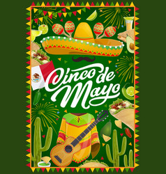 mexican cinco de mayo party sombrero and fireworks vector image
