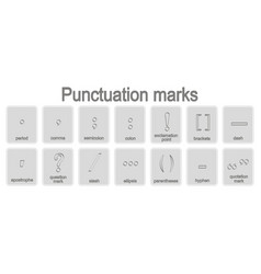 Monochrome icons set with punctuation marks vector