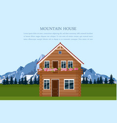 mountain house swiss style card landscape vector image