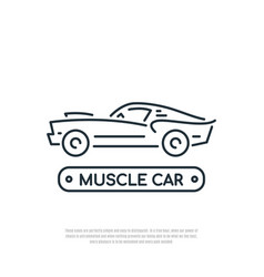 muscle car line icon car symbol liner style vector image