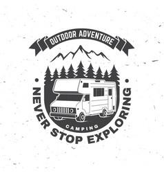 Never stop exploring summer camp concept vector